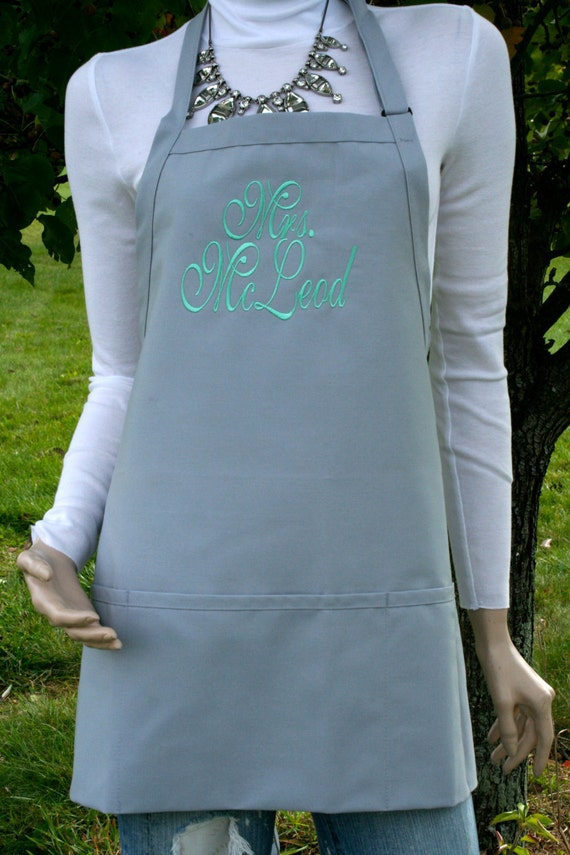 "3 pocket silver gray spoons apron and mint font monogrammed apron (24""L x 28""W) Engagement, House Warming, Bridal Shower Birthday, Etc"