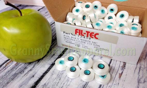White L Magnetic core bobbins. Fil-Tec Magna-Glide Classic Embroidery Machine prewound. Type / Class / Style L. Filament Polyester No. 60