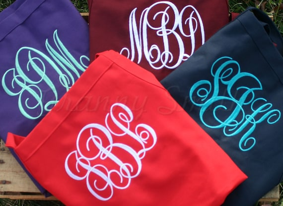 "Set of 4 Embroidered monogram 24""L x 28""W bib apron with 3 pockets. Protect her gown! Initials. Bridesmaid. Flower girl too. Wedding favor."
