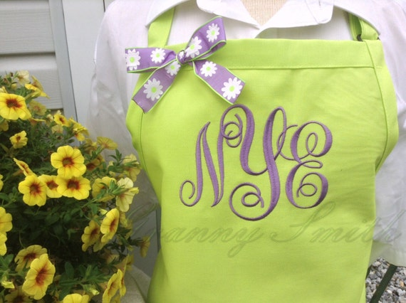 "3 pocket Limeade Bright Green and Purple Pansy ""SBE"" font monogrammed apron (24""L x 28""W) Teacher, graduation, Chef, Picnic, Kitchen remodel"