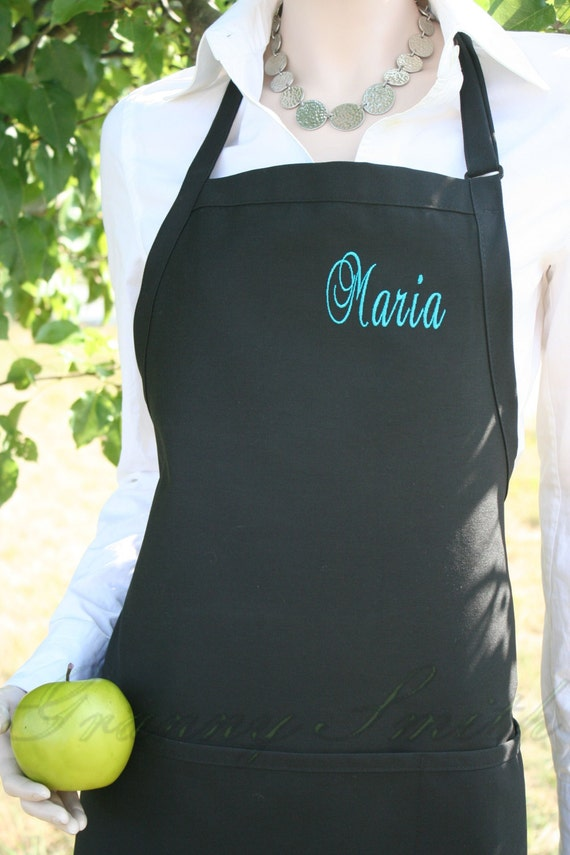 "3 pocket Black Caviar apron and teal thread monogrammed apron (24""L x 28""W) Nail tech, cosmetologist, waitress, barista, teacher, uniform"