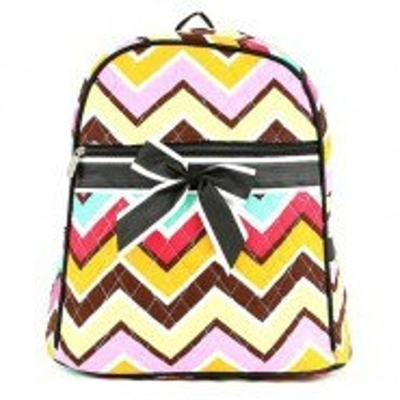 Quilted Chevron 2 piece matching backpack + lunch bag. Fuchsia white turquoise orange Black purple + lime. Customize. Personalize. Monogram.
