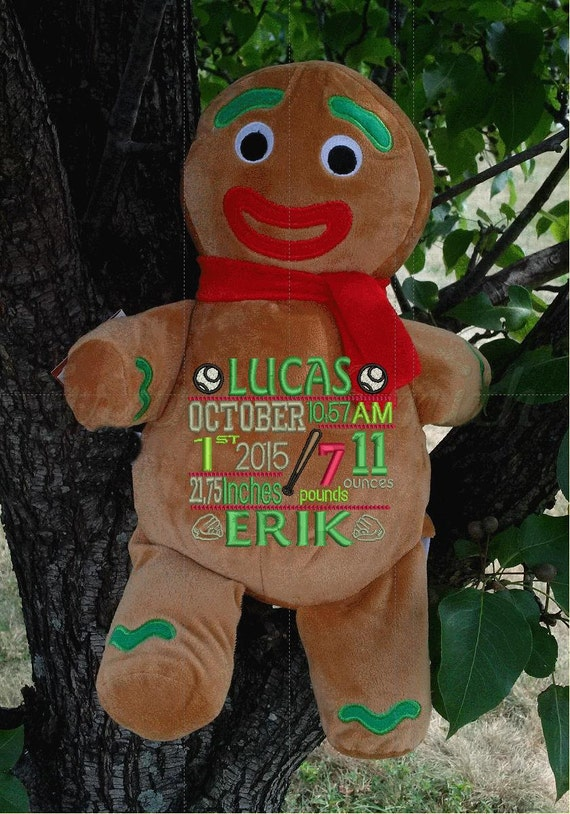 """Gingerbread man 12"""" plush stuffed plush with custom embroidery! Any occasion, embroidered, monogrammed, personalized gift, customized animal"""