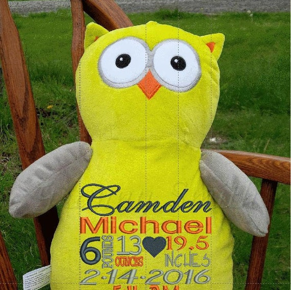 """Yellow Owl Custom 12"""" personalized embroidery plush. Birth block announcement, Easter basket, Baby, shower, baptism special event, holiday,"""