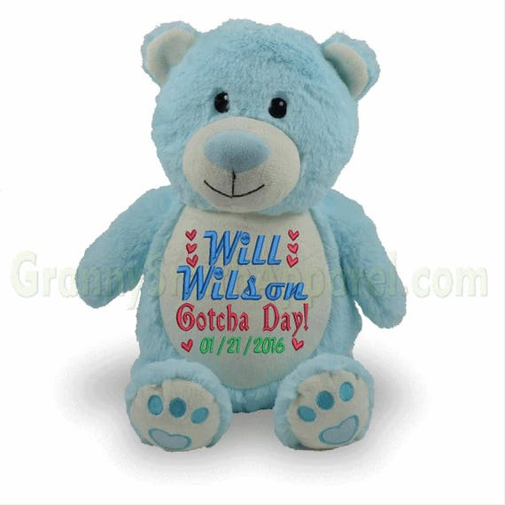 "Bear BLUE 14"" plush stuffie.  Custom embroidered for your occasion with your saying. Adoption, superhero, promposal, and many more ideas!"