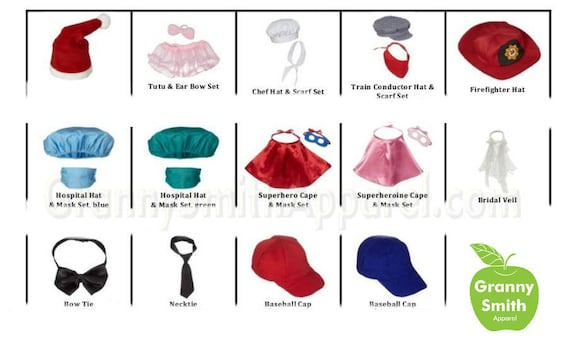 Outfit clothing for a stuffie plush stuffed animal. train conductor, chef, baseball, tutu, superhero, scrubs and MORE!!!!