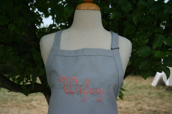 "Ready to ship*** NO pocket ""Wifey"" apron in Silver Gray Spoons with Peach Tea Colored Thread.  Your option to add a bow or not."