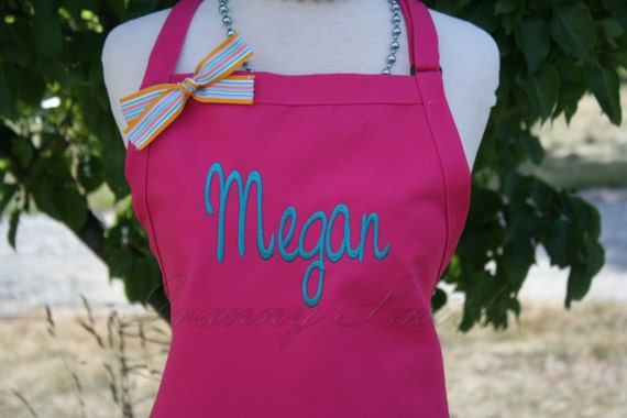 "3 pocket Hot Pink Lollipop & Dark Teal thread ""SBE"" font ""first name"" apron (24""L x 28""W) Teacher, graduation, Chef, Picnic, Kitchen remodel"