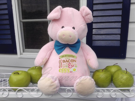 Bacon & eggs plush stuffed pig. Valentine's Day.  Love. Many occasions. Personal note on the bottom or not. Accessory bow tie or hair bow.