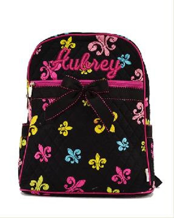 Set 2 piece Quilted Fleur De Lis large backpack + lunch bag great for school! Customize. Personalize. Monogram