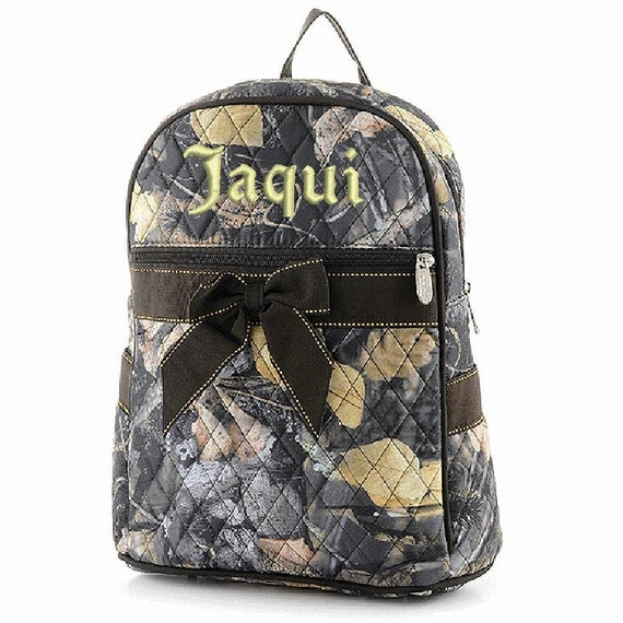 Quilted Camouflage 2 piece matching backpack + lunch bag. Book bag. Brown with minimal yellow accents.. Customize. Personalize. Monogram.