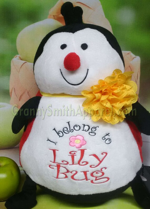 """RED LADYBUG 16"""" cute custom embroidered! Any occasion, embroidered, monogrammed, personalized gift, customized animal"""