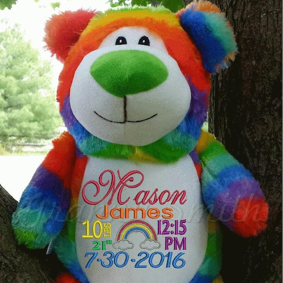"RANIBOW BABY bear Customize & personalize a 12"" embroidered, Christmas. Baby, wedding, birthday, shower, christening special event holiday"