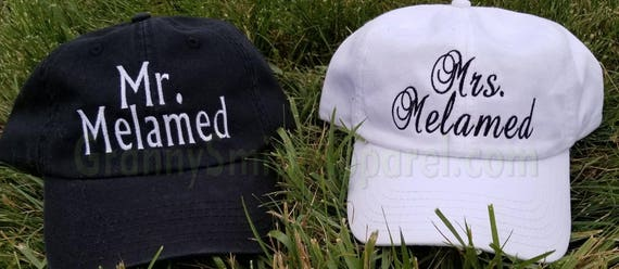 His and Hers or Mr and Mrs matching embroidered Set baseball cap hats. Great for honeymoon or destination wedding. Very classy and preppy!