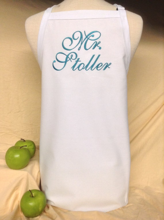 "White Wedding ""Mr."" Apron with Dark Teal Ocean Script in extra long (34""L x 24""W) Bridal Shower Gift, Cake Cutting Ceremony Tuxedo Saver"
