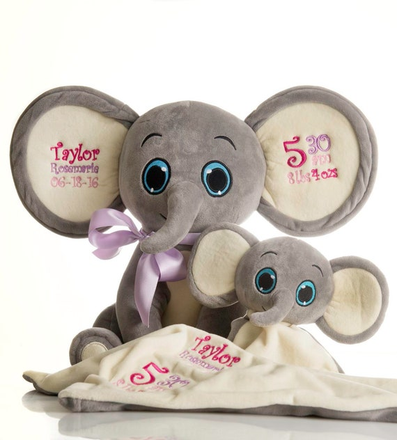 Gray Elephants Set. Large ear embroidery. Small tummy embroidery. Free shipping in US. Christmas gift, new baby, Or any occasion!
