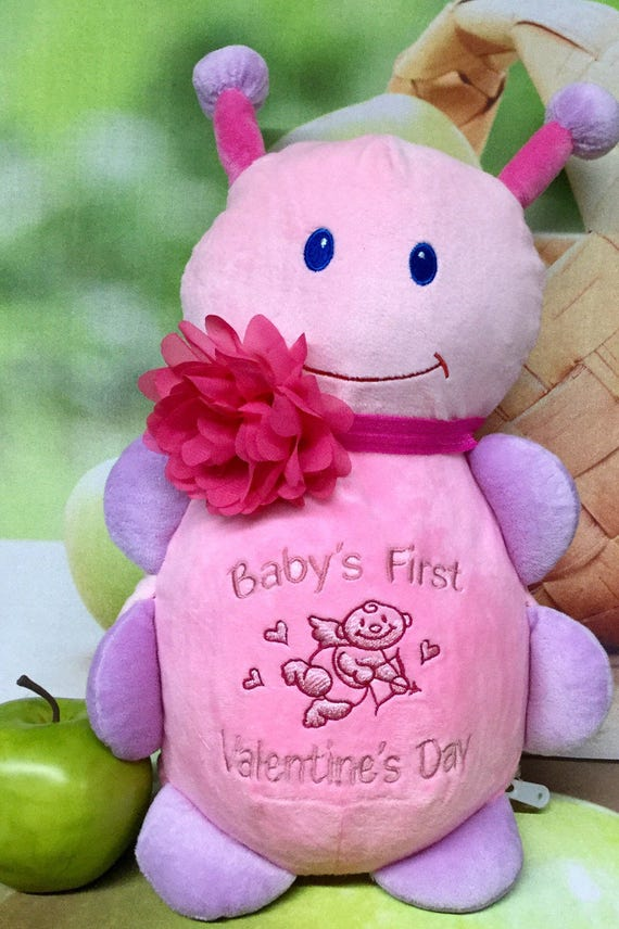 Baby's First Valentine's Day stuffed plush animal with removable pods for washing. Multiple animals to pick from in multiple sizes!