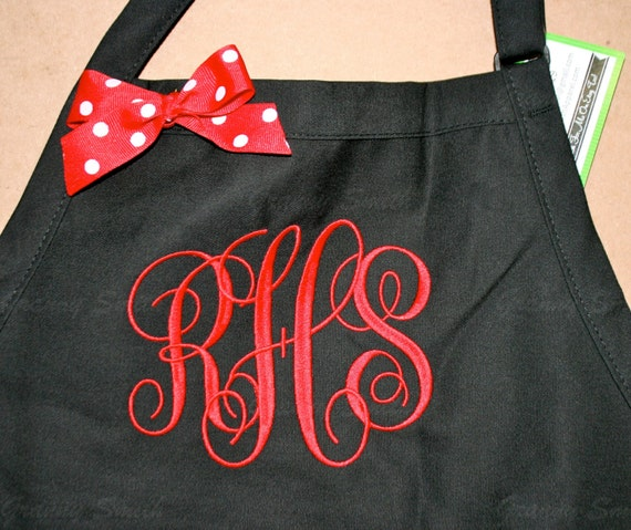 "3 pocket Black Caviar apron and Red ""SBE"" font monogrammed apron (24""L x 28""W) Engagement, House Warming, Bridal Shower Birthday, Etc"