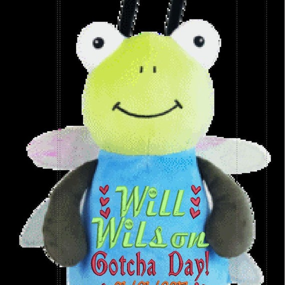 """Dragonfly Custom birth 12"""" personalized Easter basket plush. Baby, newborn, shower, christening, special event, holiday,"""