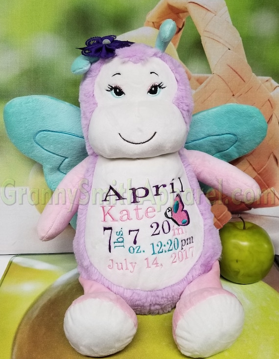 "BUTTERFLY 14"" plush stuffie custom embroidered plushie stuffed animal.  Great for the new baby, adoption, birth announcement, big sister etc"