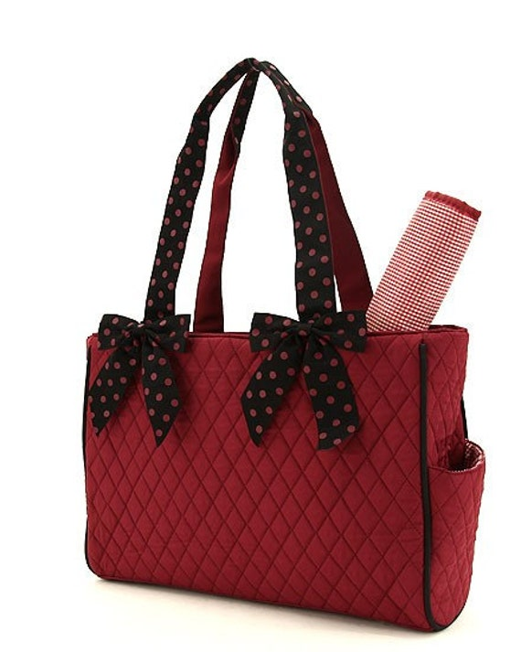 UNISEX quilted solid maroon + polka dot black 2pc diaper bag set. Bows detach. Changing pad, , & diaper bag. Custom embroidered. Unisex.