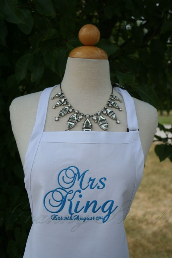 "The ""Mrs"" Apron with ""Estd. date"" & NO Pockets your color choice bow or no (28""L x 24""W) spring beach, island, pastel, baby blue, robbin egg"