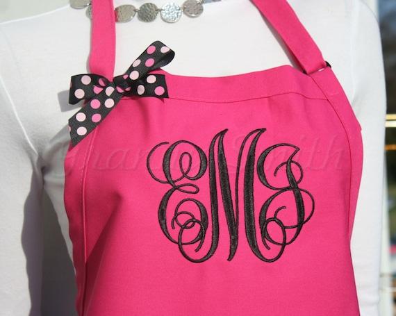 "3 pocket Hot Pink Lollipop and Emerald Black ""SBE"" font monogrammed apron (24""L x 28""W) Teacher, graduation, Chef, Picnic, Kitchen remodel"