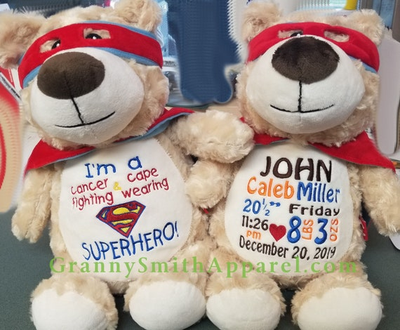 "SUPERHERO Hero bear 12"" personalized plush embroidered bear gift. Child cancer fighter. childhood illness.  survivor"