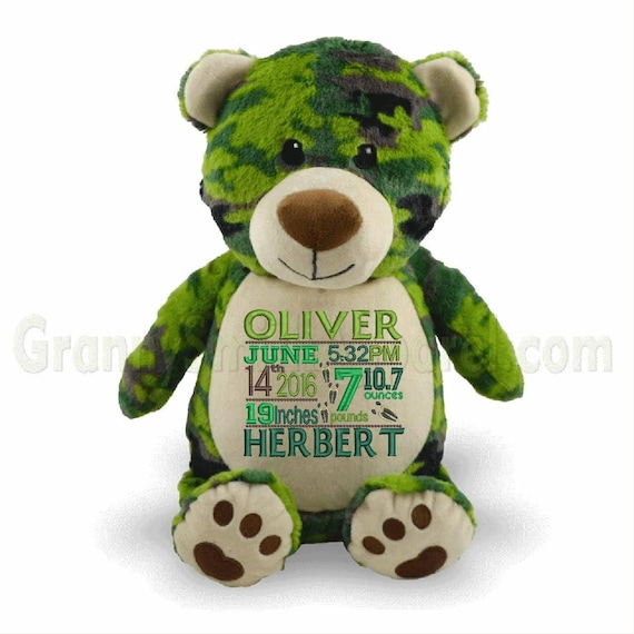 "CAMO BEAR 14"" plush stuffie plushie stuffed animal has arrived! Personalized camo message.  Customized tummy embroidery.  Gift for kids"