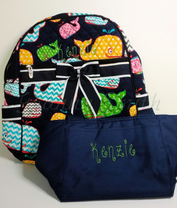 Quilted 2 piece matching colorful chevron whales w navy blue trim backpack + lunch bag set. Book bag. Customize. Personalize. Monogram.