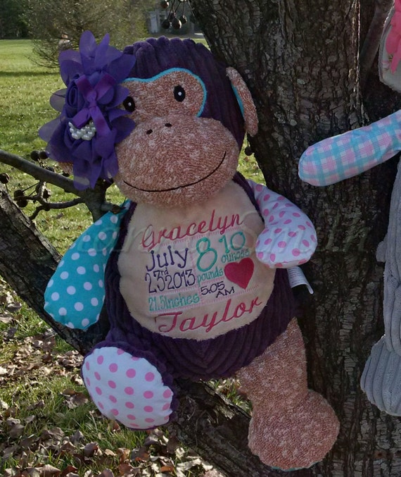 "NEW**  PURPLE Monkey Circus / Harlequin Custom 12"" personalized plush Baby, nursery decoration, christening, special event, holiday,"