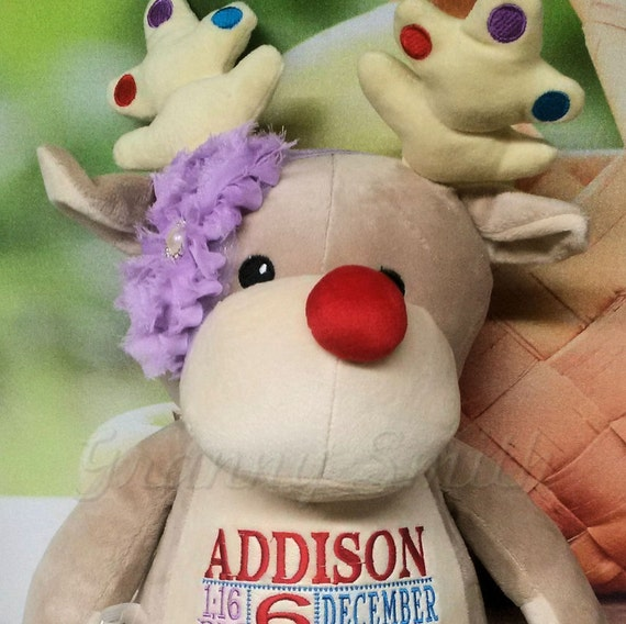 """Customize & personalize a plush 12"""" embroidered red nosed reindeer. Gray rudolph with your thread color choice.  Baby's first Christmas."""