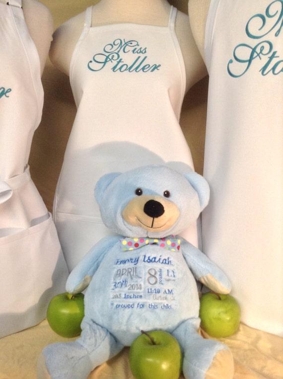 "White ""Miss"" or ""Mr"" Apron & Baby Bear with Dark Teal Ocean Script, Bridal gift for flower girl ring bearer, Cake Eating Clothes Saver"