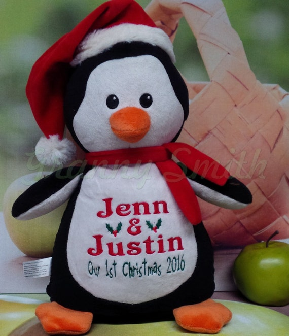 "Customize & personalize a plush 12"" embroidered Christmas penguin. Winter bear with your thread color choice.  Baby's first Christmas."