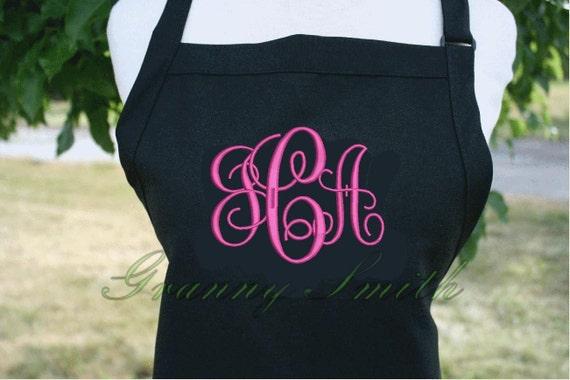 "3 pocket Caviar Black + Custom Bright Pink ""Monogram"" font monogram apron (24""L x 28""W) Teacher, graduation, Chef, Picnic, Kitchen remodel"