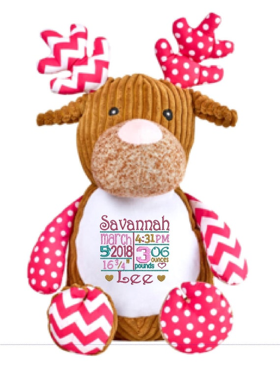 "DEER 12"" plush stuffed pink / brown w/ custom embroidery! Any occasion, embroidered, monogrammed, personalized gift, customized animal"