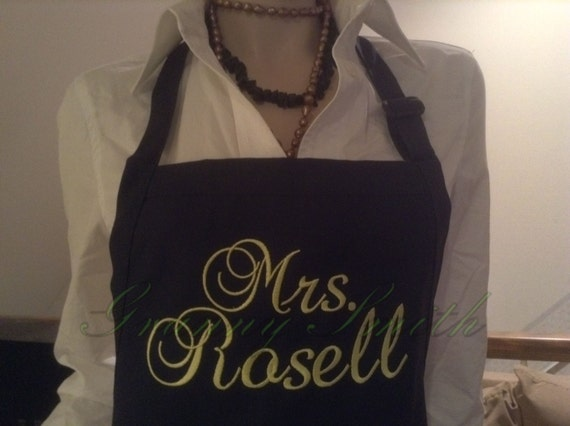 "A ""Mrs."" Navy Blue Berries Apron w Daffodil thread, Script and 3 Pockets (24""L x 28""W) Bride, Wedding, Family name, Gift idea, house warming"