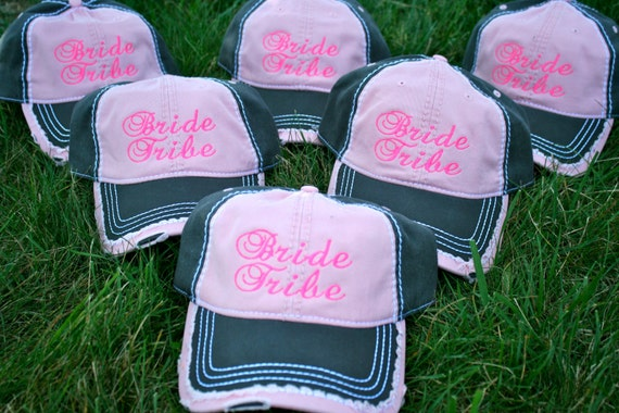 Set of 6 bridal party / wedding party hats. Gifts for bridesmaids. Bachelorette party ball hats. Mrs monogram caps. Personalized bride hat.