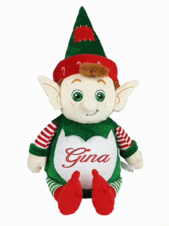 "Christmas Elf personalize a 12"" embroidered, Christmas. 2016 edition, for your shelf or shoulder Christmas / Santa reminder. Name him / her"
