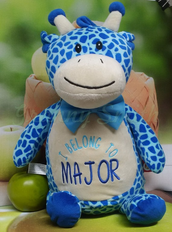 "Giraffe brown, blue or pink 12"" birth announcement plush animal. Graduation, christening, child's name, Christmas, Easter, Holiday"