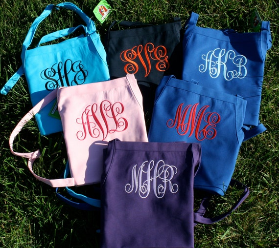 "Bridal set of 6 full bib ""SBE"" font monogrammed 3 pocket aprons (24""L x 28""W). Customized as bridesmaid or groomsmen's gifts. Personalized"