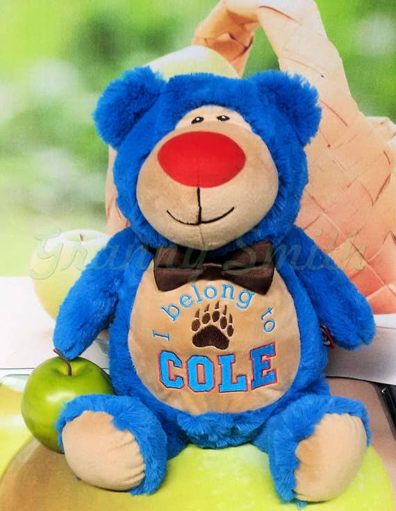"Bright BLUE bear Customize & personalize a 12"" embroidered, Christmas. Baby, wedding, birthday, shower, christening special event holiday"