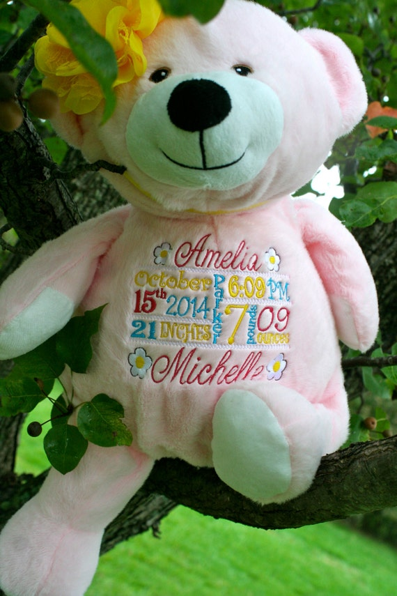 "PINK (girl) Customize & personalize a plush 16"" embroidered teddy bear. Baby, wedding, birthday, shower, christening, special event, holiday"