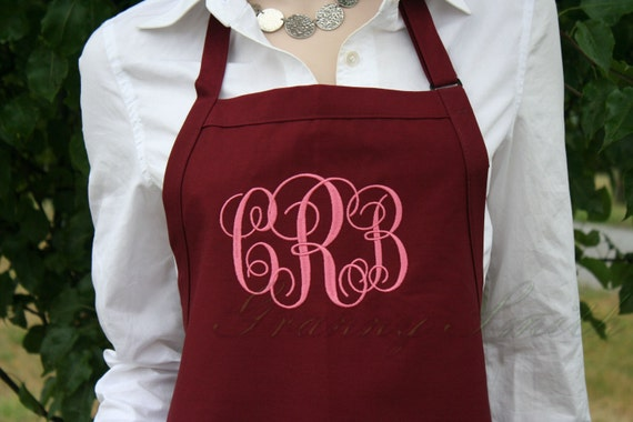"NO pockets Burgundy Wine + Mauve EXtra long ""sBe"" font monogram bow or not apron (28""L x 24""W) Holiday gift, Wedding, Bride, New last name"