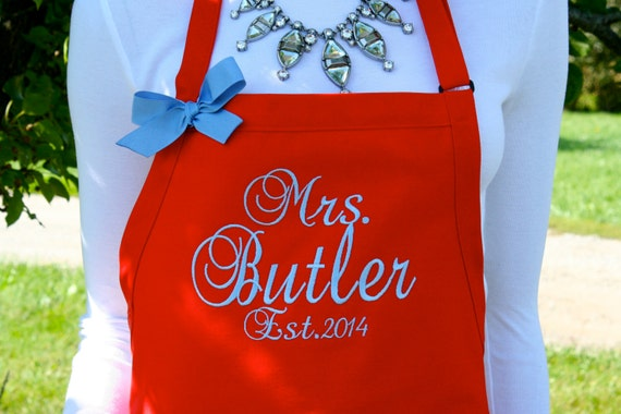 "3 pocket Red Raspberry apron w Baby Blue thread (24""L x 28""W) monogram. Personalize with or without a bow! Wedding gift. Christmas gilt."