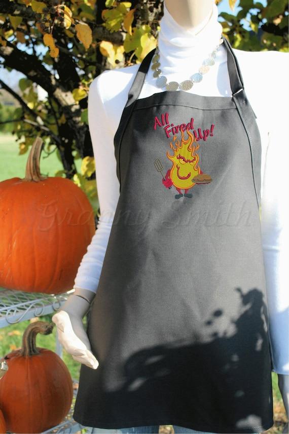 "Men's BBQ ""All Fired Up"" apron XL-long no pockets (34""L x 24""W) Unisex. Picnic. Gift, Chef, Tuedo Saver, Birthday, Anniversary"