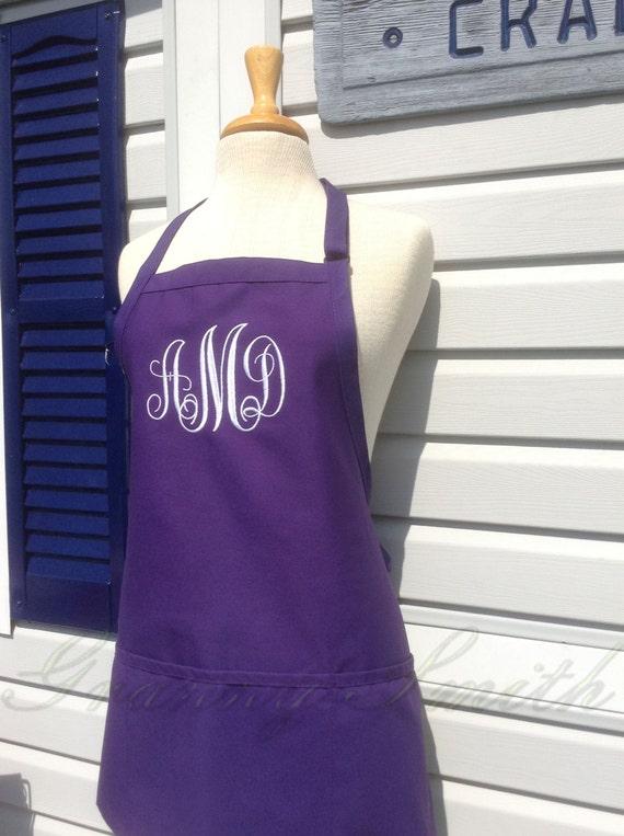 "3 pocket purple grape jelly apron + white monogrammed apron bow or not (24""L x 28""W) Engagement, House Warming, Bridal Shower Birthday, Etc"