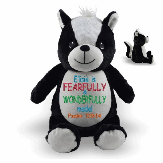 Skunk Stuffie plush custom animal.  Cute stinker stuffie. Embroidered personalized tummy. Memorial, Newborn, or for someone left behind.