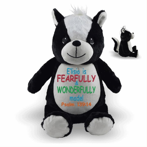 NEW*** Skunk Stuffie plush custom animal.  Embroidered, personalized tummy. Memorial, Newborn, or a gift for someone left behind.