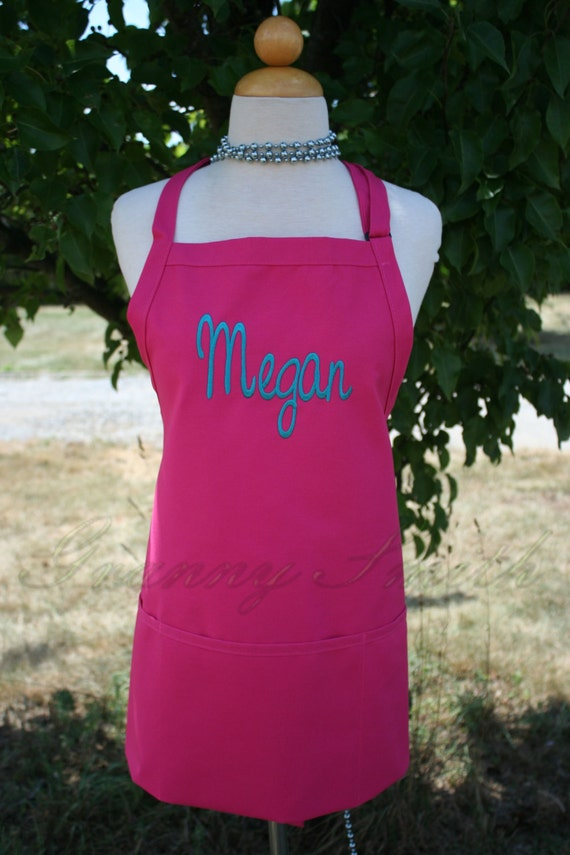 "NO pocket Hot Pink Lollipop & Dark Teal thread ""SBE"" font ""first name"" apron (28""L x 24""W)  Pink, graduation, Chef, Picnic, Kitchen remodel"